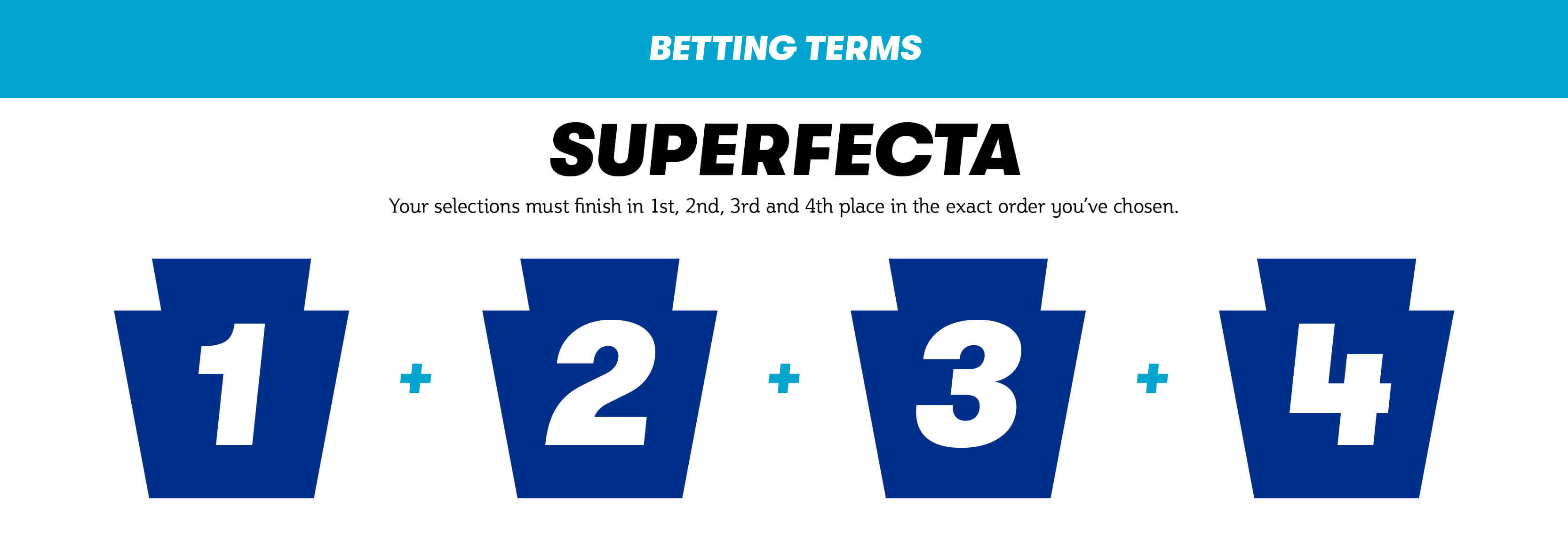 Superfecta. Your selections must finish in first, second, third and fourth place in the exact order you've chosen.