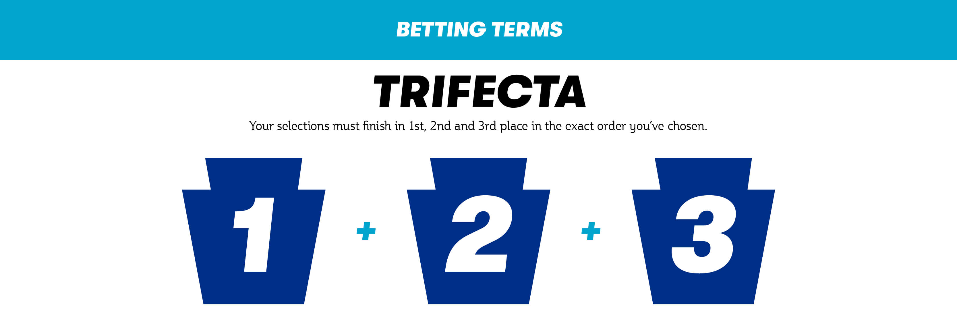 Trifecta. Your selections must finish in first, second and third place in the exact order you've chosen.
